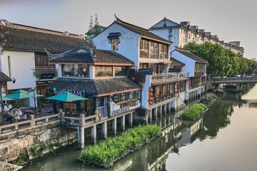 Traditional buildings next to the river, Qibao ancient water town, Shanghai