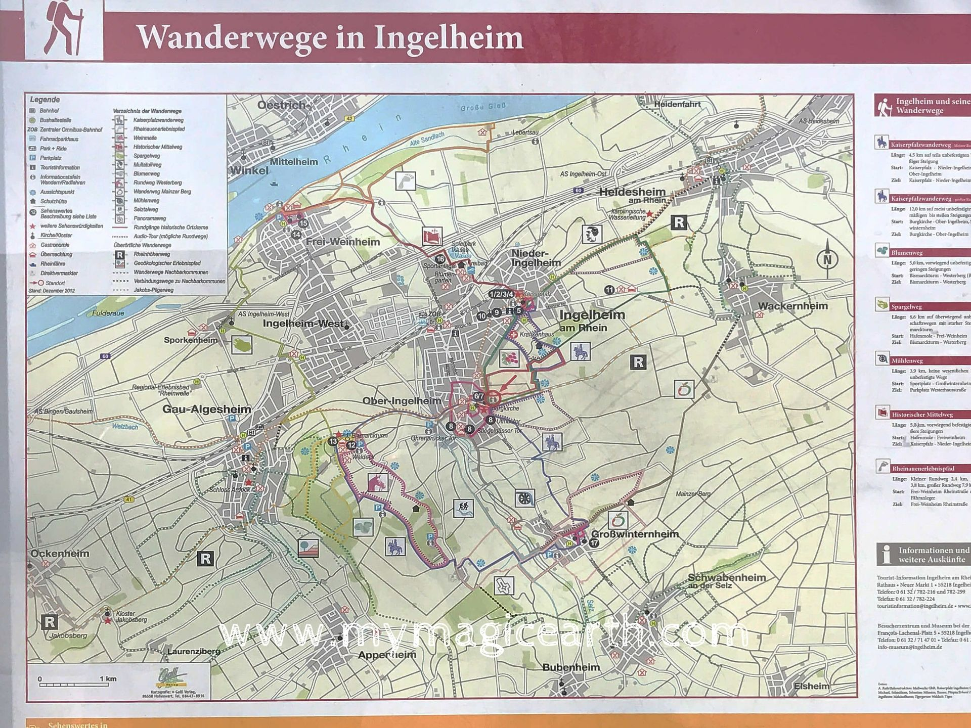 Hiking trails in Ingelheim, Cycling trail in Ingelheim, Rhine River, Germany