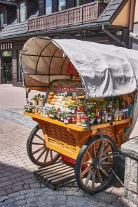 Selling of local specialties on the Krupówki street, Zakopane, Poland