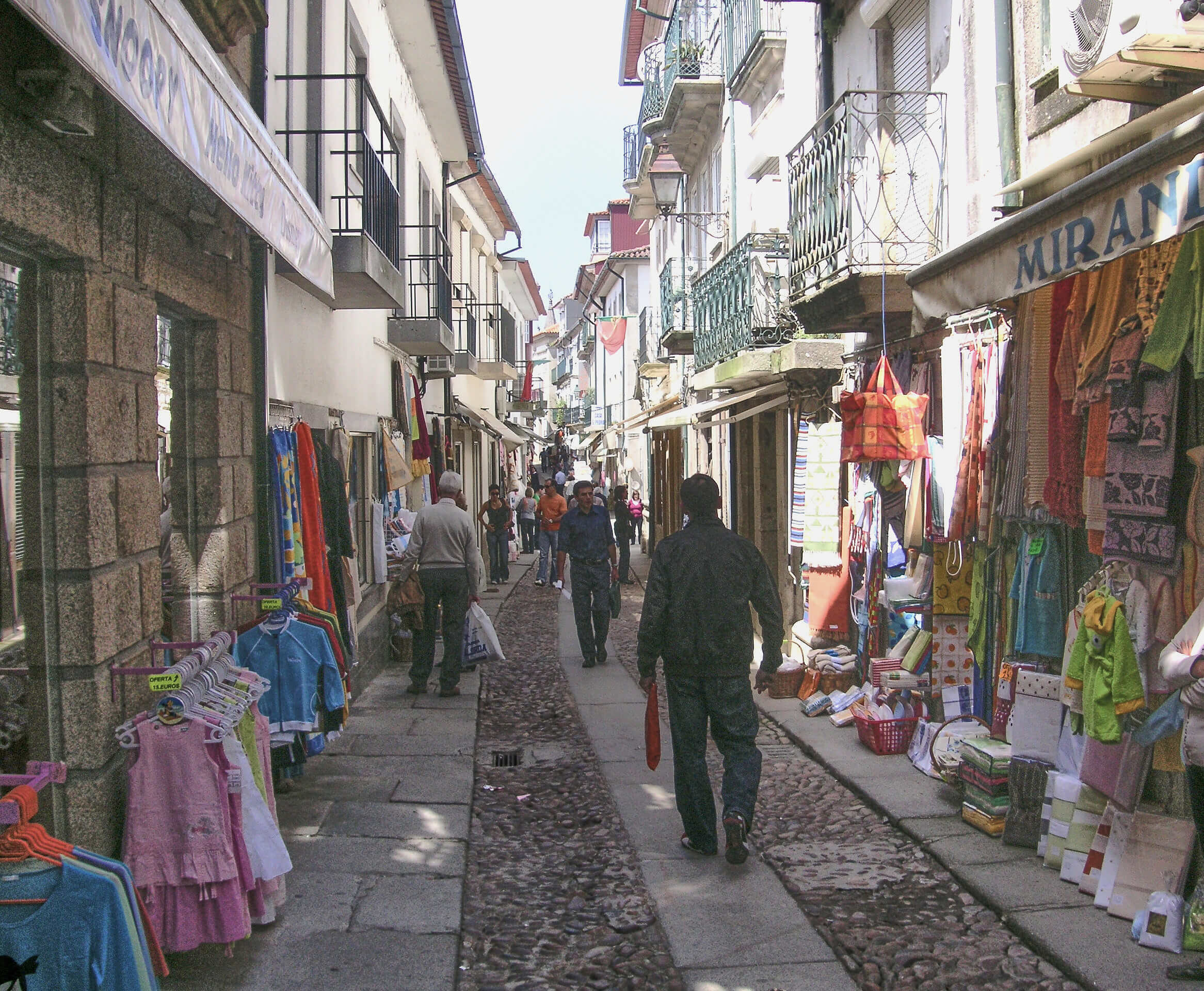 Colurful towels and linen shops in Valenca, Portugal