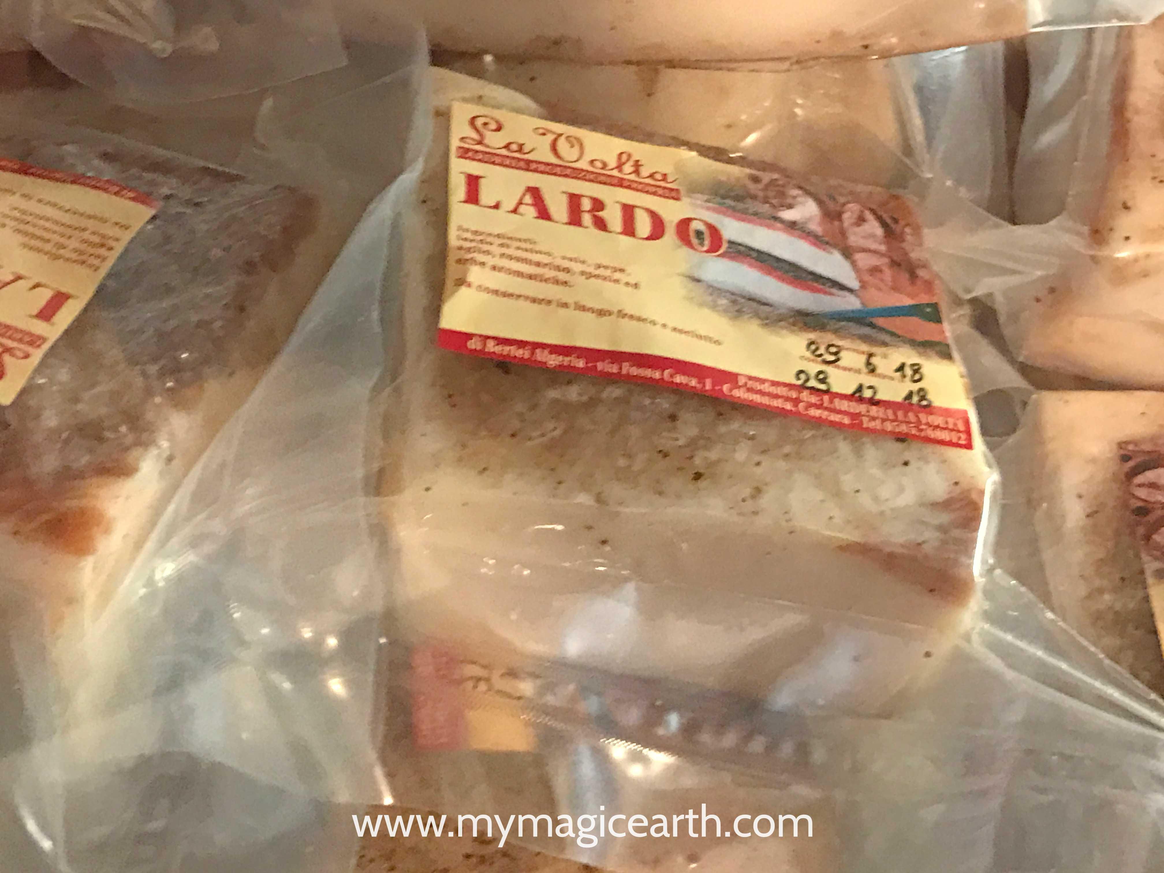 Colonnata lard sold in the local surpermarket, Colonnata innorthern Tuscany