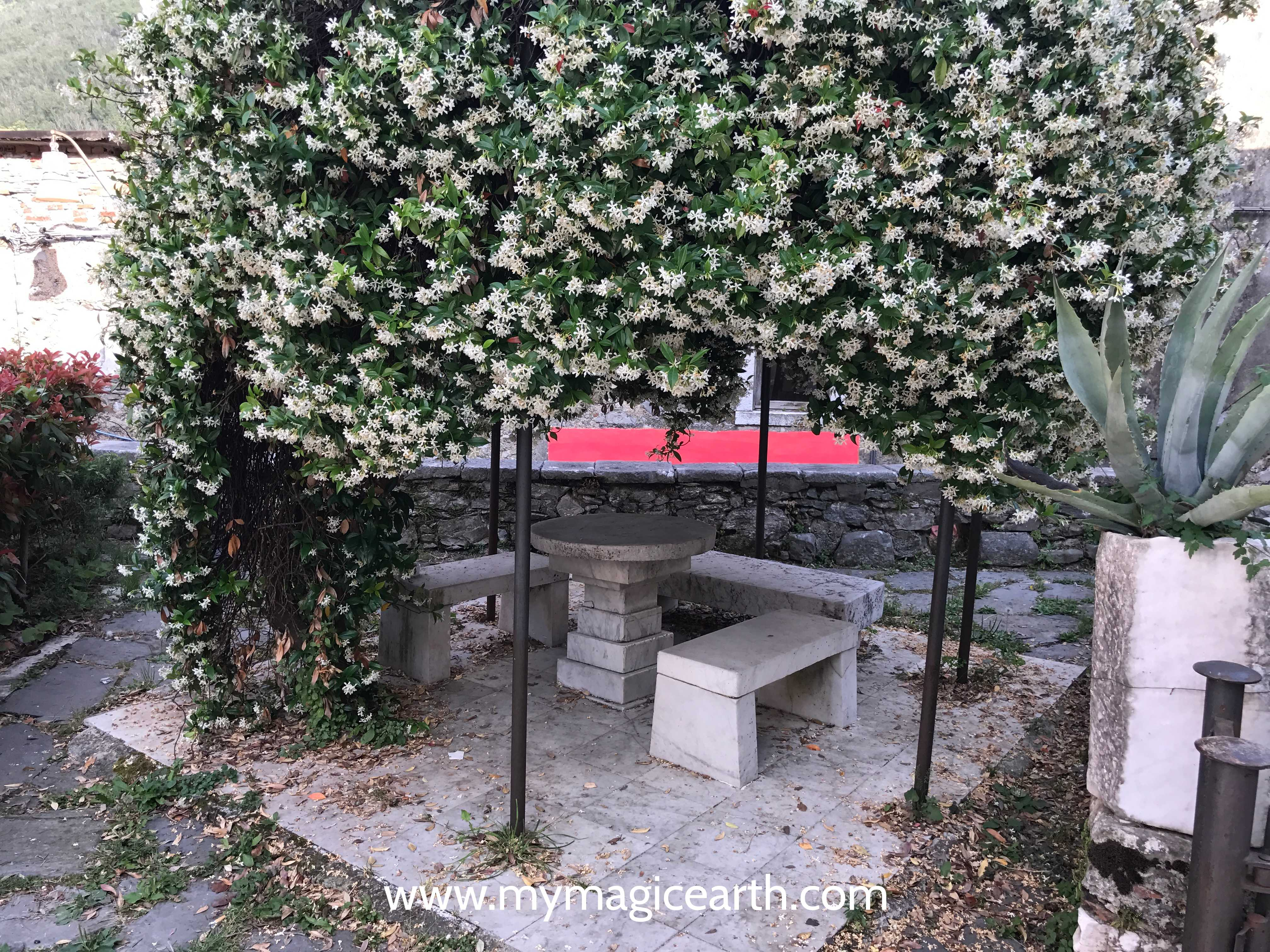 A public sitting corner made of marble, Colonnata, Northern Tuscany