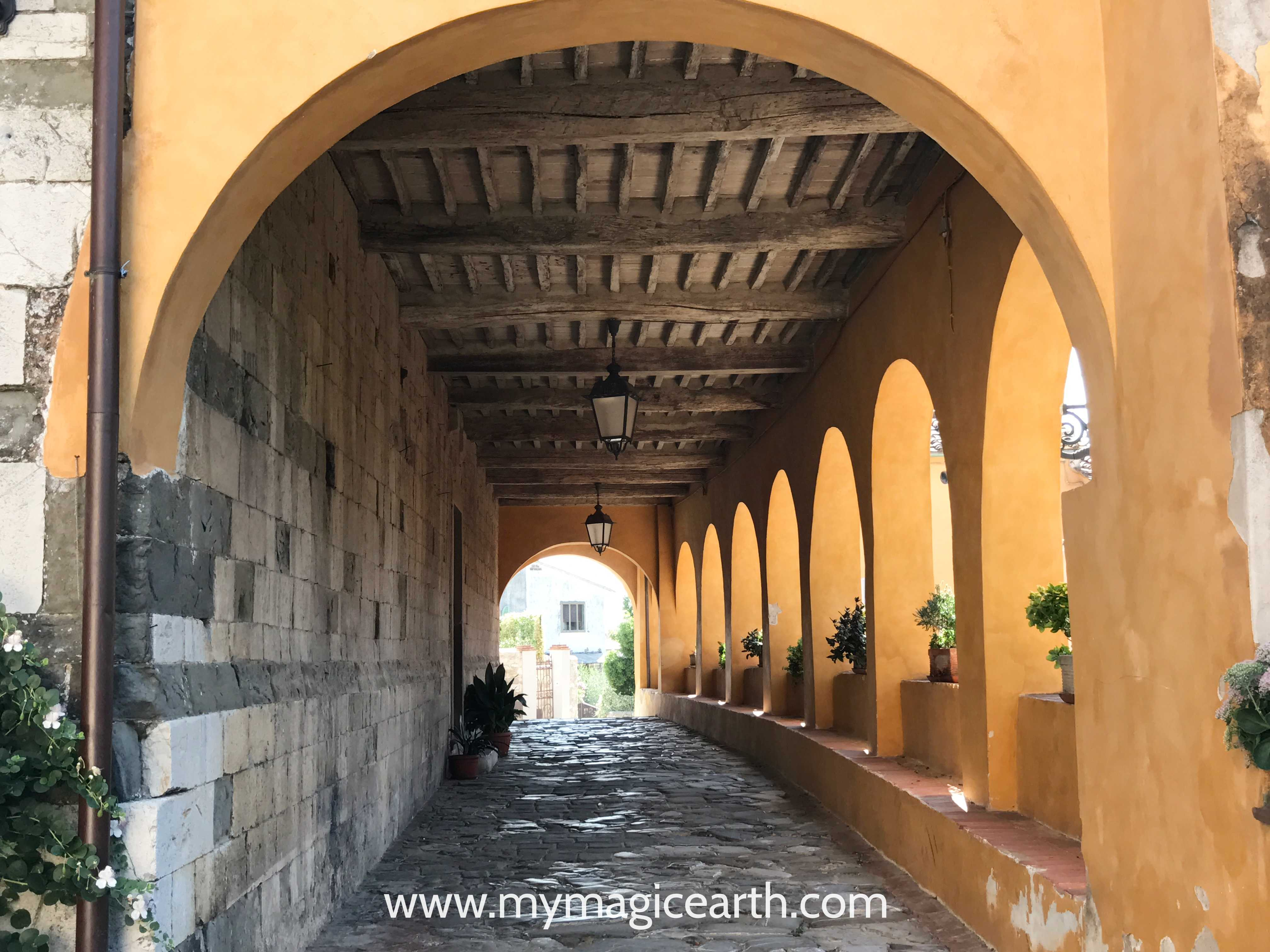 Walk way in front of Church in Serravalle, Tuscany