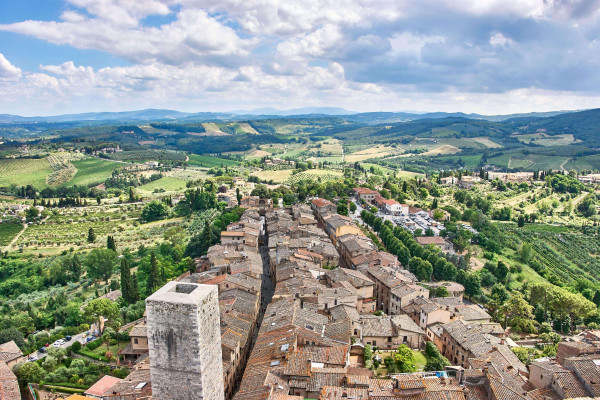 A Bench on the Tower next to the highest tower in San Gimignano, Tuscany