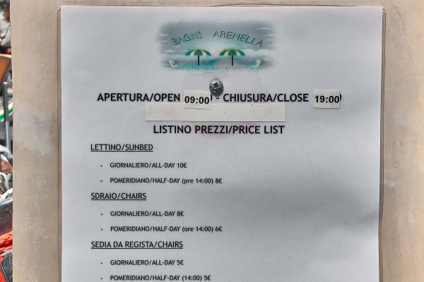 Price list from a budget Italian beach club