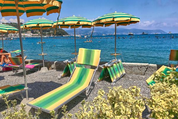 Beach settings from a simple Italian beach club near Portovenere