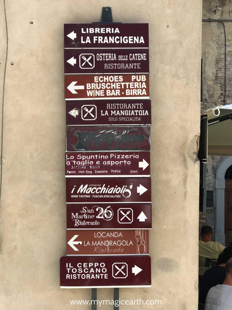 A street sign of italian restaurants, Restaurant names in San Gimigiano, Tuscany