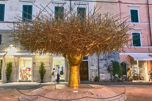 A piece of art creation on the public street, Pietrasanta