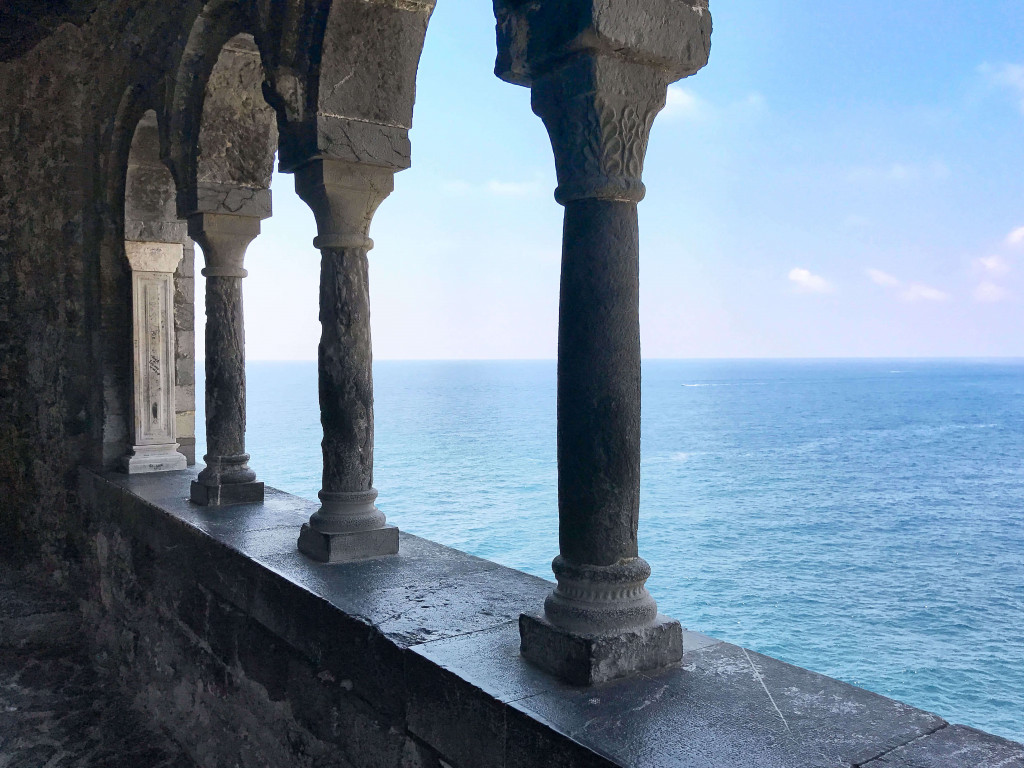View of the Ligurian sea from San Pietro Church
