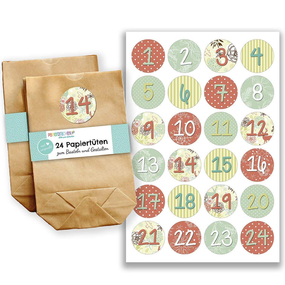 Advent calendar mini set with 24 number stickers and paper bags - DIY Set - for making and filling - stickers No 24