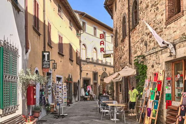 Narrow streets with shops in Centre in Castellina-in-Chianti, Italay