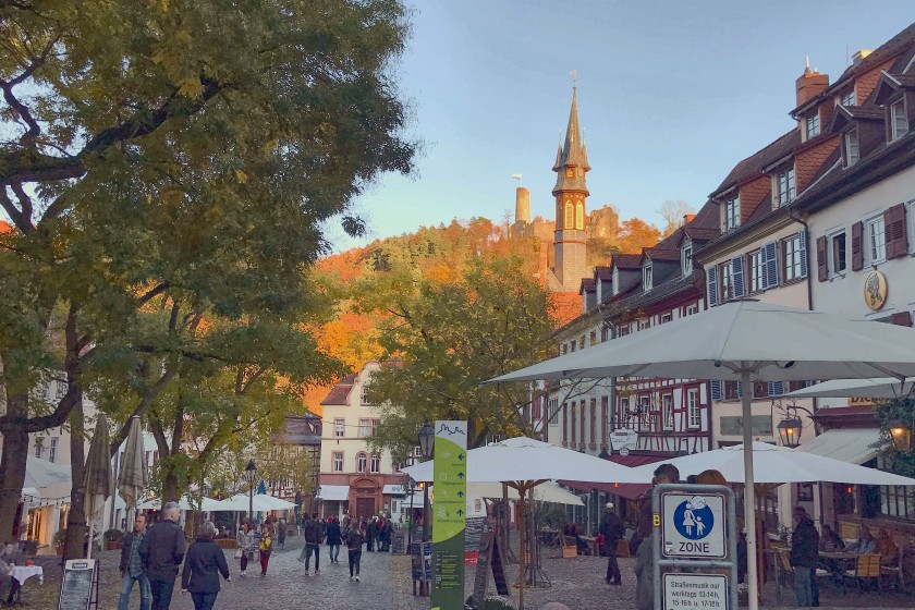 The sunset view of market square, Weinheim