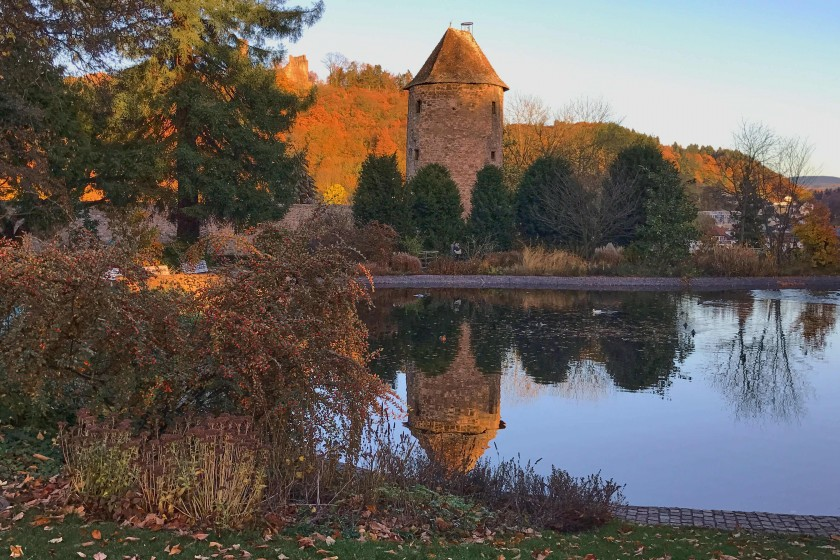 The sunset view in the castle park, Weinheim