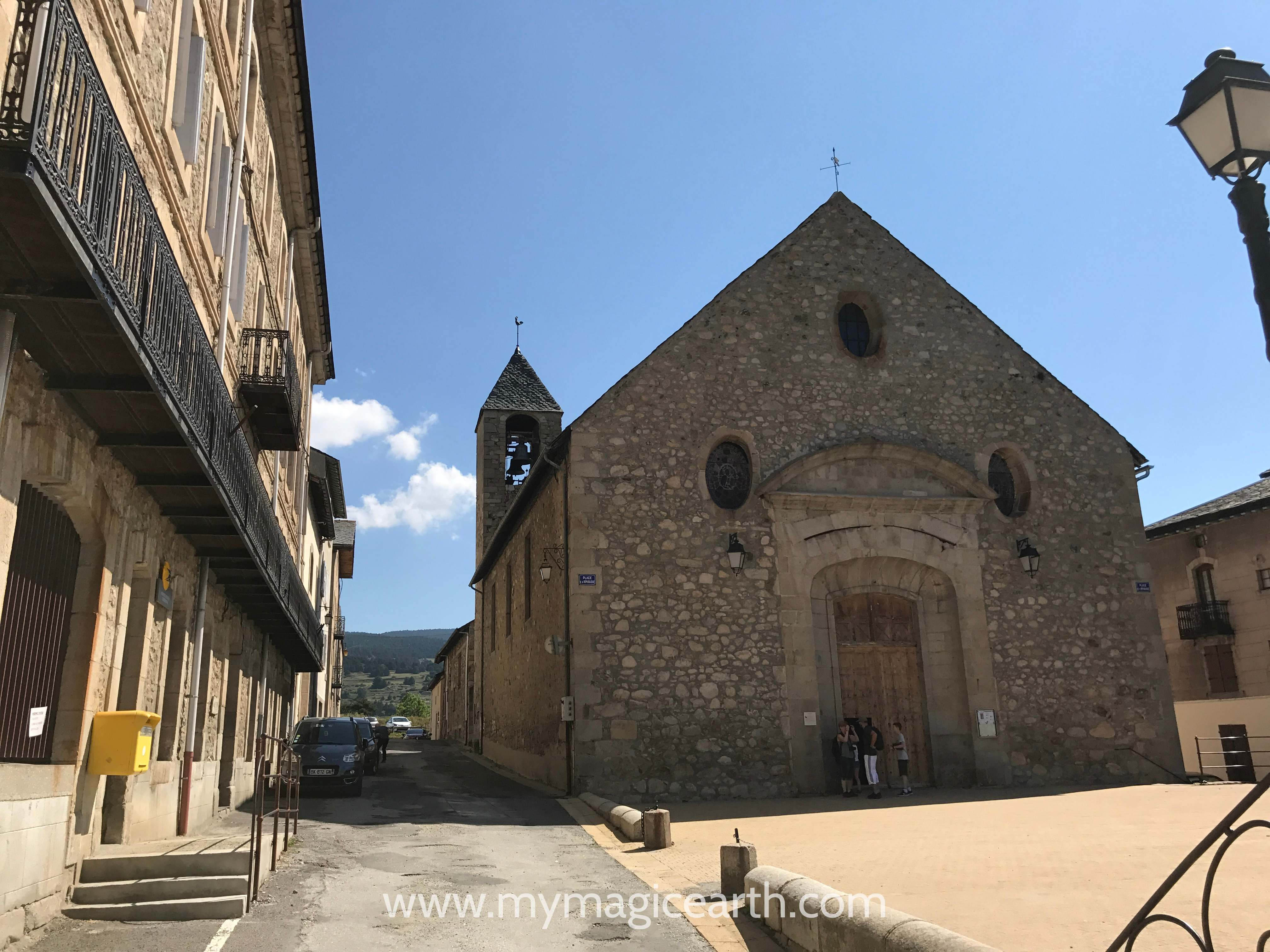 The facade of the Saint-Louis Church in Mont Louis, Pyrenees, France