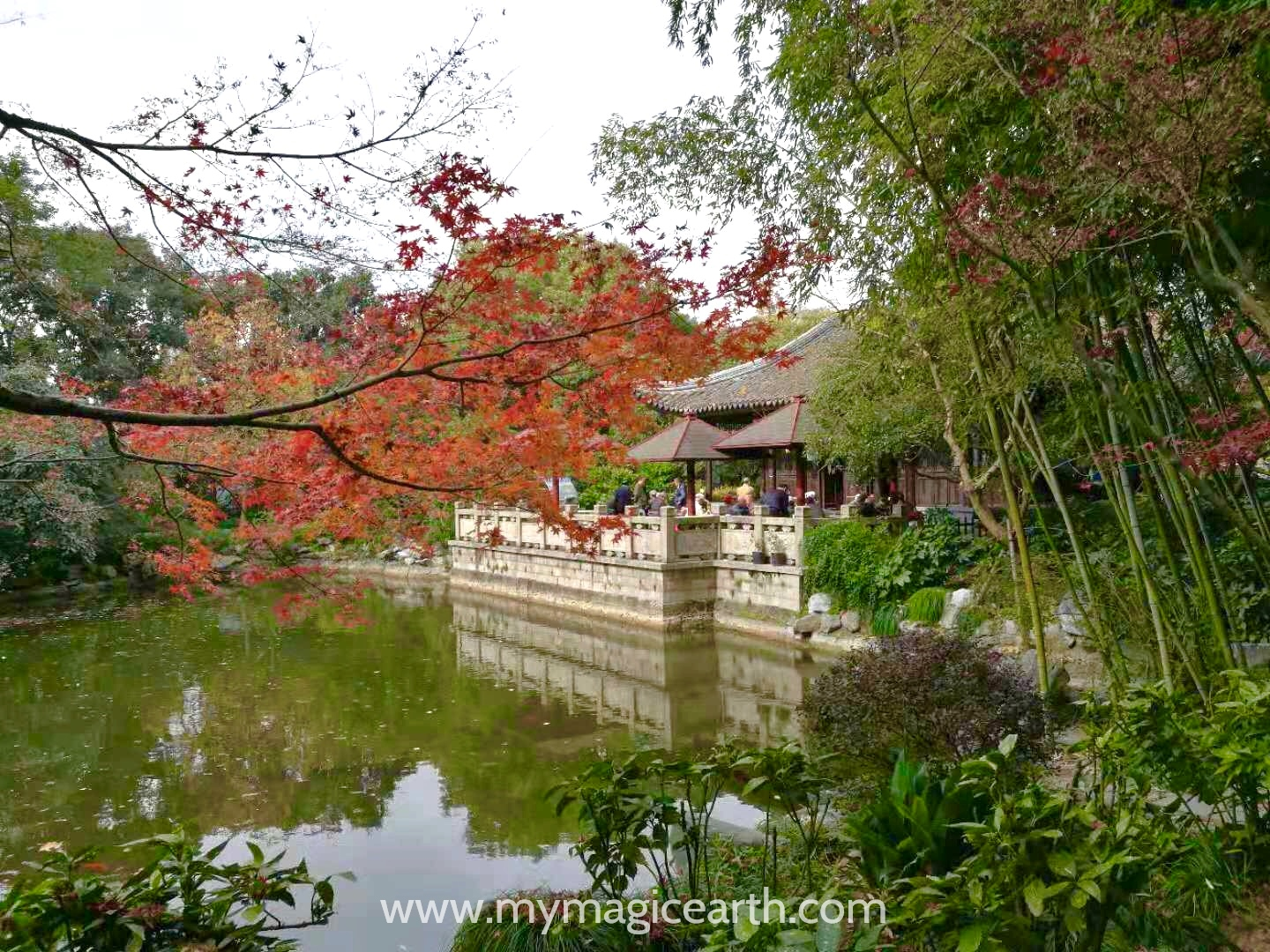 Pond and Pavilion in Guilin Park, Shanghai