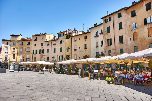 Piazza dell'Anfiteatro, Lucca, Tuscany; day trips from Pisa