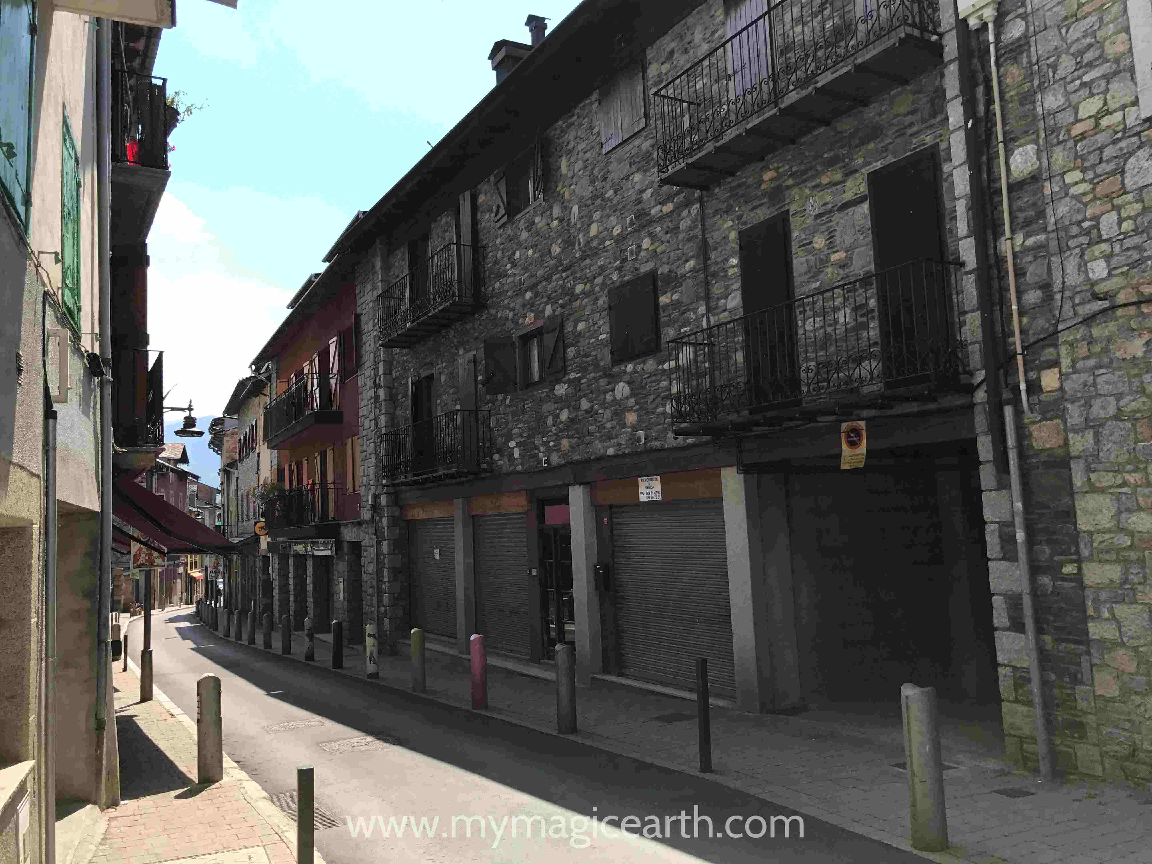 The main street in LLivia, Spain