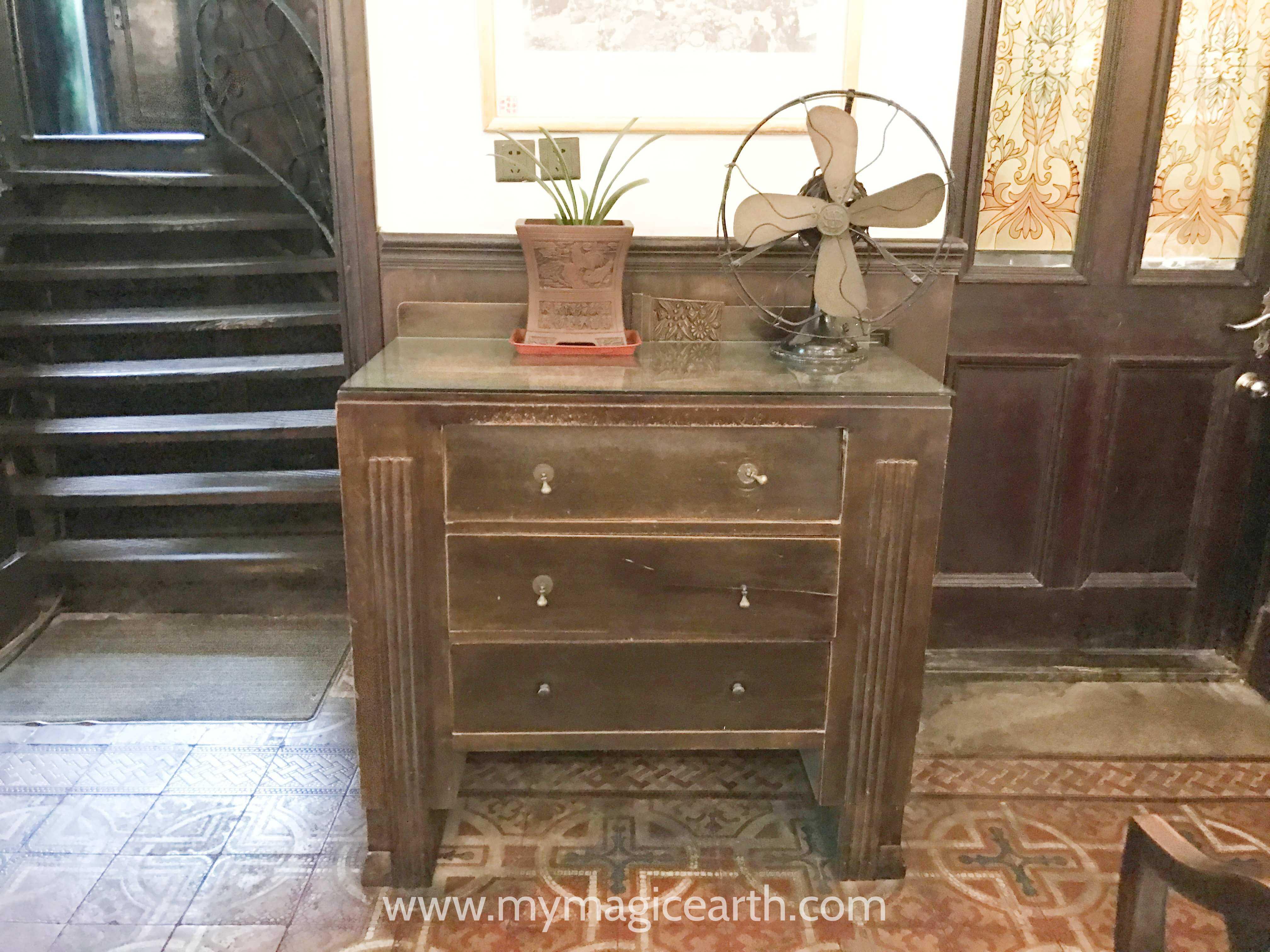 Old furniture inside the Notre Dame
