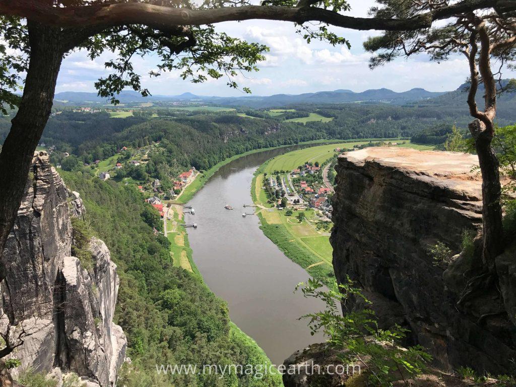 The viewing platform in Bastei, Saxon Switzerland National Park, Germany