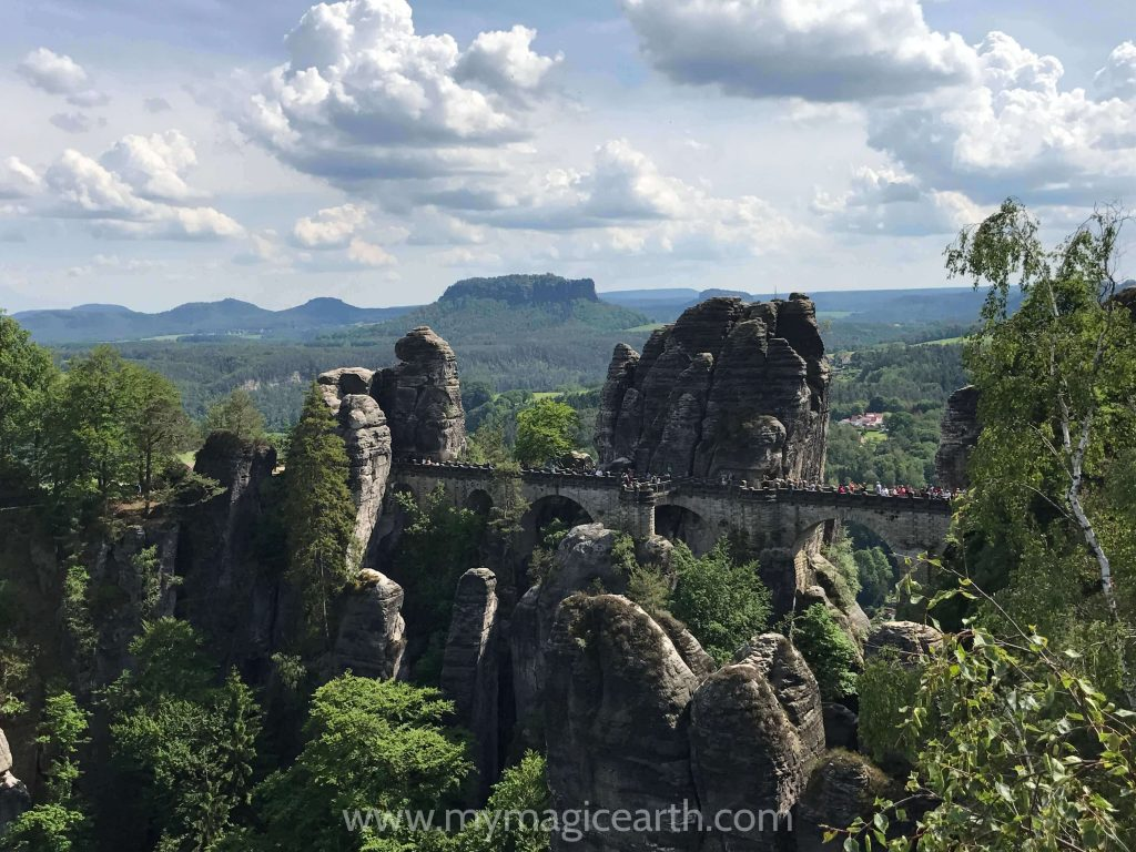 The famous Bastei Bridge in the Saxon Switzerland National Park, Germany