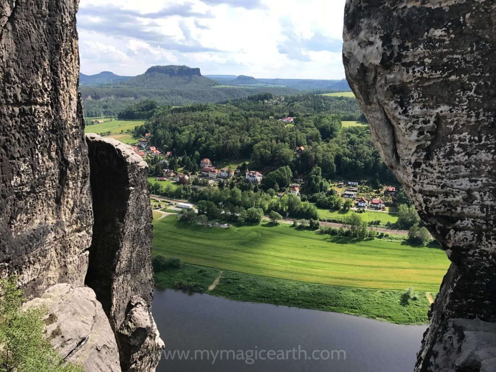 View of the Elbe River betwenn the rocks in Bastei