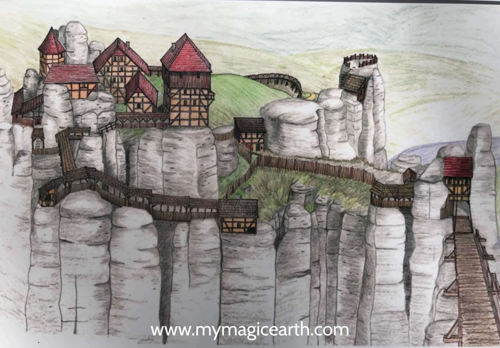The original Neurathen Castle atop the rocks