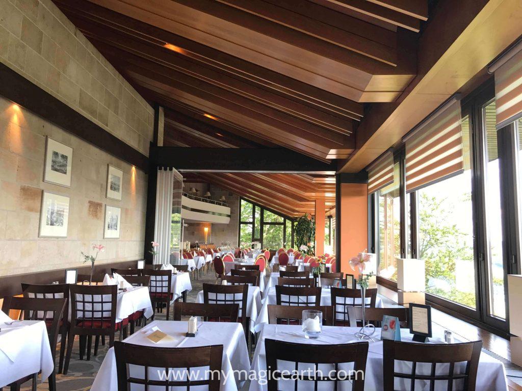 The panorama restaurant in the Berghotel Bastei