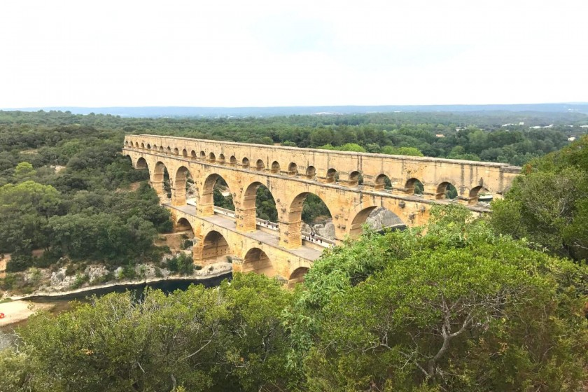 View of Pont du Gard at distance
