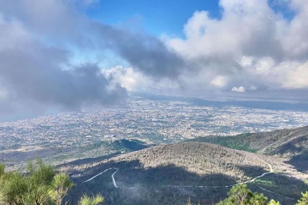 View of Capri from the slope of Vesuvius volcano