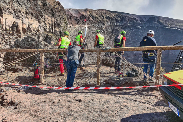 A group of research workers was carrying out their research tasks at the bottom of the crater.
