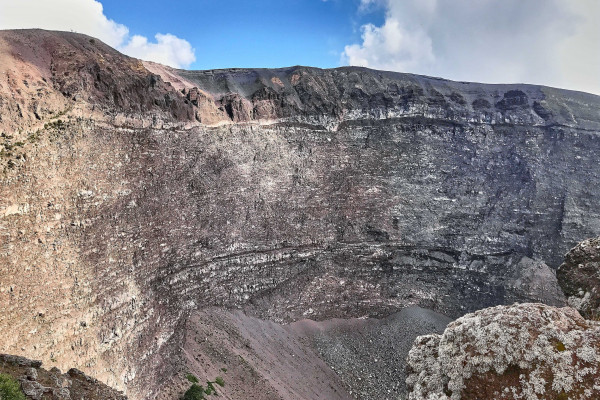 The crater looks like a giant cone. Currently, it has a diameter of 450 metres and a depth of 300 metres.