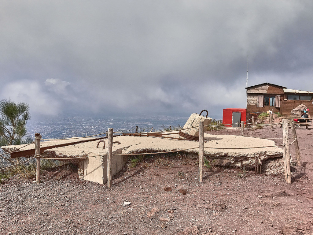 The ruins of the first funicular cable car on Mount Vesuvius opened in 1880