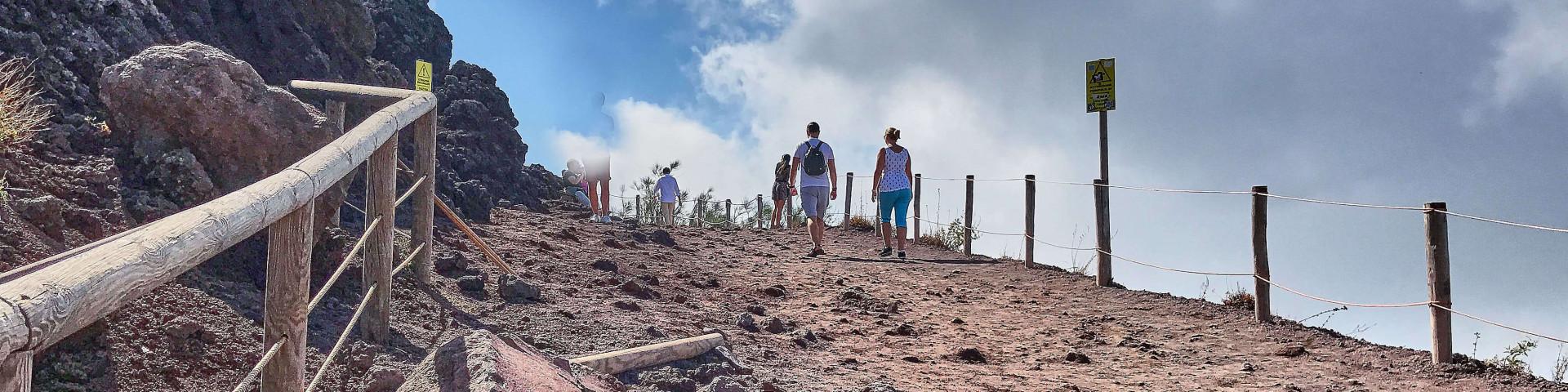 Walk around the rim of the Vesuvius volcano crater
