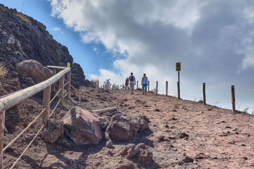 Walk around the rim of the Vesuvius volcano crater