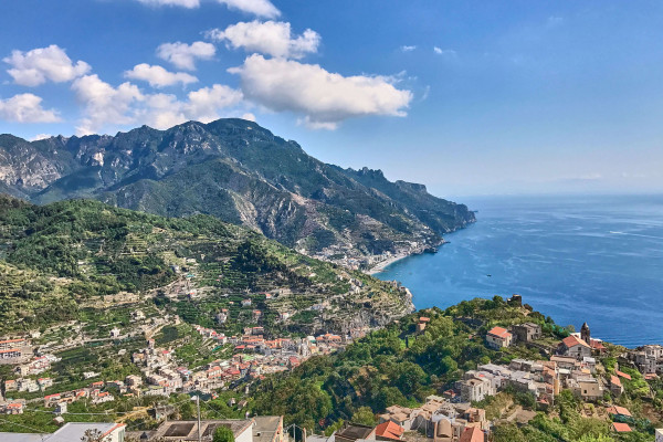 The uncrowded seaside town, Minori, has terraced gardens up the rugged hillsides