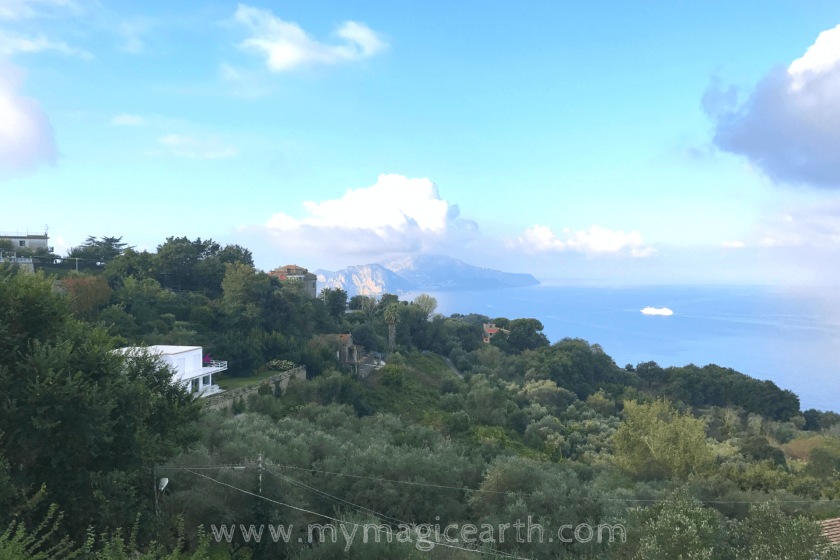 View of Capri from the slope of volcano