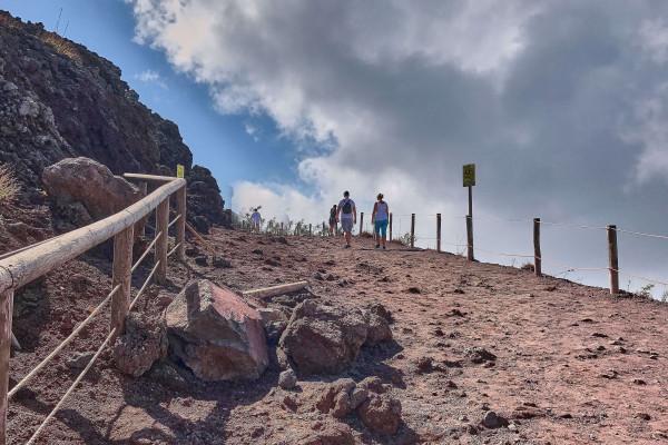 Walk around the rim of the Vesuvius crater