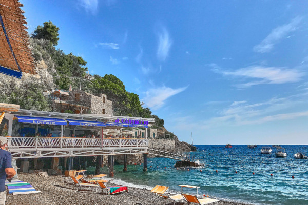 beach of Marina del Cantone; Amalfi coast itinerary