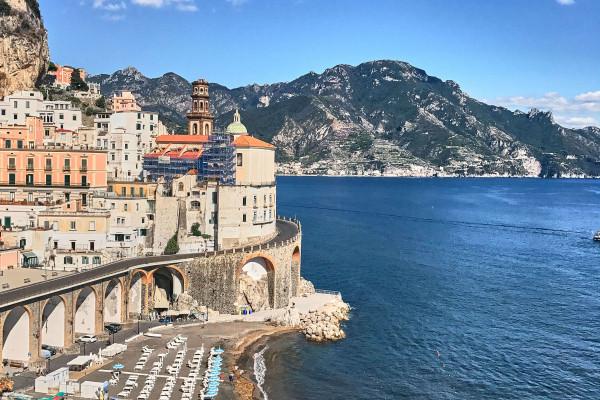 A panoramic view of the Atrani village; Amalfi coast itinerary