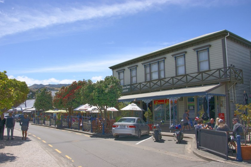 Street scene in Akaroa, New Zealand