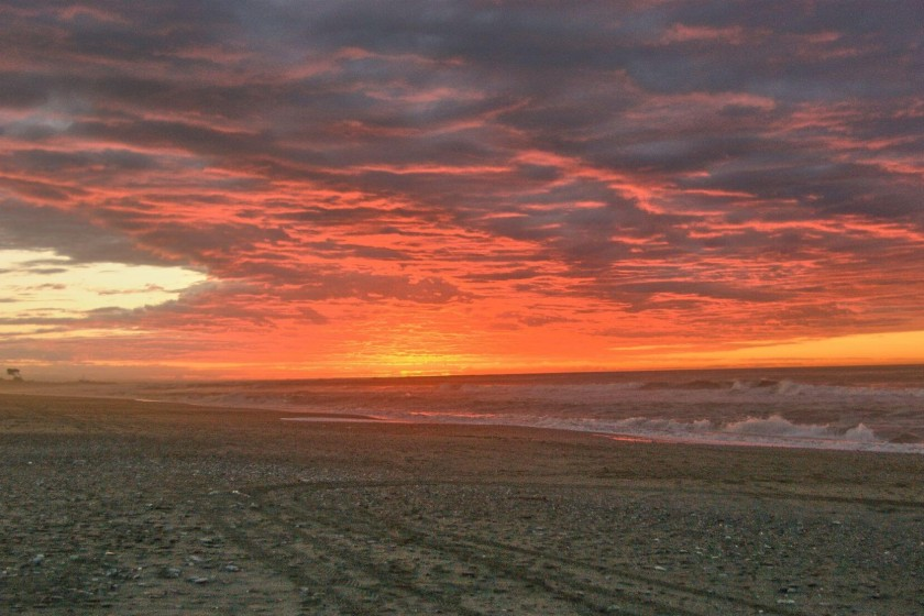 Stunning Sunset at Hokitika beach, New Zealand