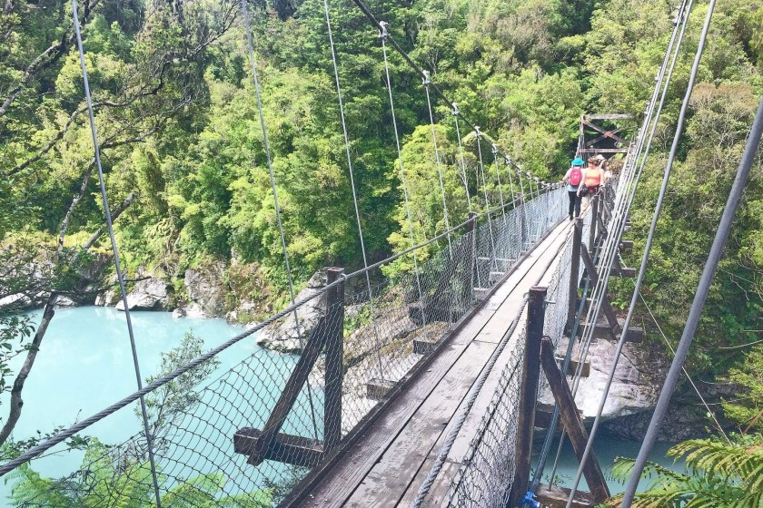 Swing Bridge to the rock sided Hokitika Gorge, West Coast of South Island, New Zealand