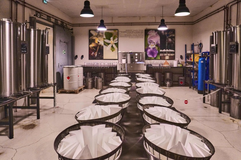 the distillery room in Fragonard historical factory