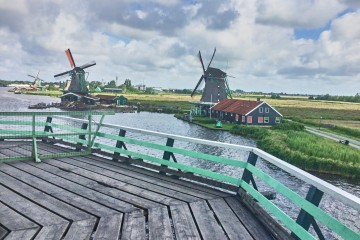 A Panorama View from one of the working windmills at Zaanse Schans, the Netherland; day trip from Amsterdam
