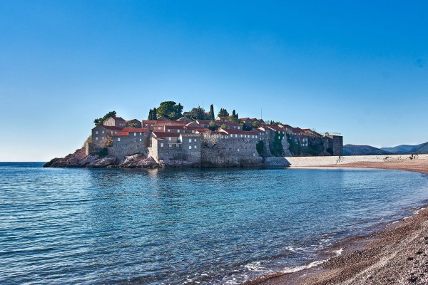 Sveti Stefan Beach and Island, Adriatic Coast, Montenegro