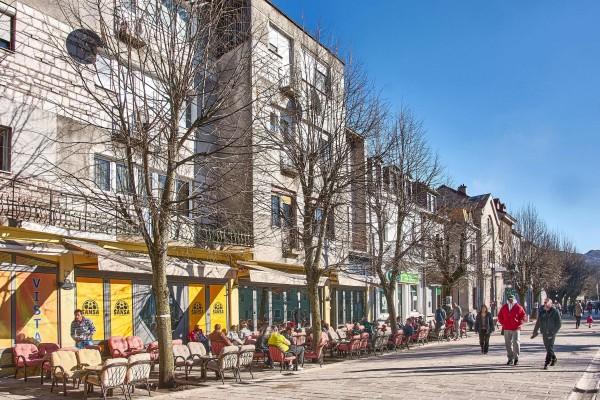 Street scene in Montenegro's old capital, Cetinje