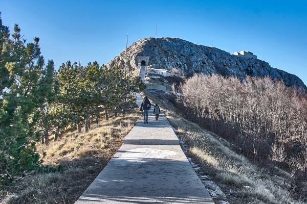 A long concrete road to the Mausoleum of Njegoš