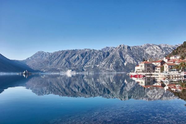 Mirrored view in Perast Montenegro