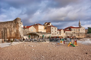 Beach outside the old town Budva Montenegro