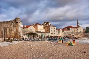 Beach outside the old town Budva Montenegro